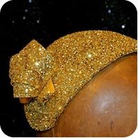 Gold Glitter Half Hat on Flee Fly Flown