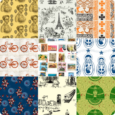 Travel Inspired fabrics from Spoonflower sellers on Flee Fly Flown