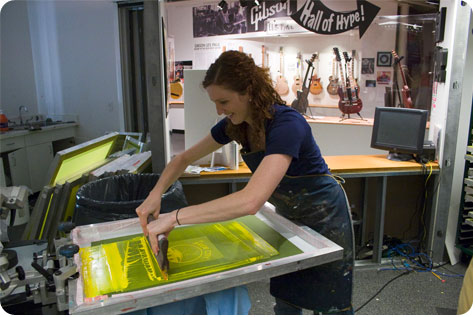 Colleen McIntyre in screen printing action