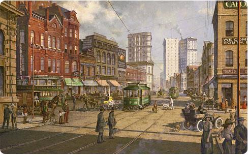 Vintage scene of Peachtree Street