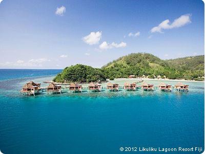 Liku Liku Lagoon overwater bungalows on Fiji on Flee Fly Flown