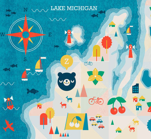 Traverse City Illustration by Kali Meadow on TheyDrawAndTravel.com on Flee Fly Flown