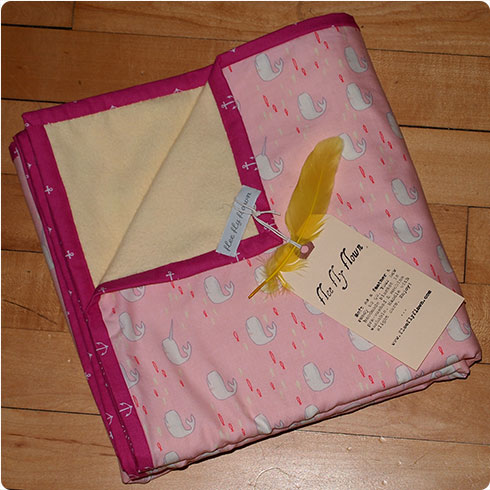 Pink Narwhal Baby Blanket with Yellow Flannel by Flee Fly Flown