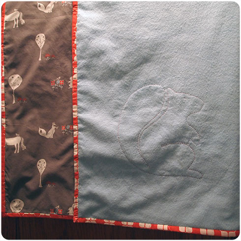 Custom Hand Stitched Squirrel and Woodland Gray Baby Blanket by Flee Fly Flown